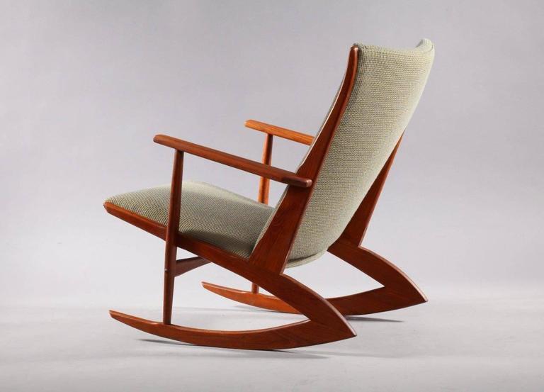 Rare Danish Teakwood Rocking Chair Holger Georg Jensen