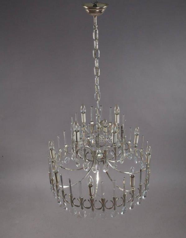 Mid-Century Modern Huge Gaetano Sciolari Large Three-Tier Modernist Crystal Chandelier, Italy, 1960 For Sale