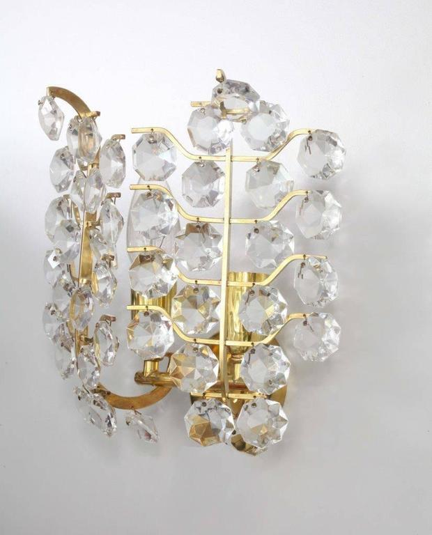 Pair of Crystal Glass Wall Sconces by Bakalowits und Sohne For Sale at 1stdibs