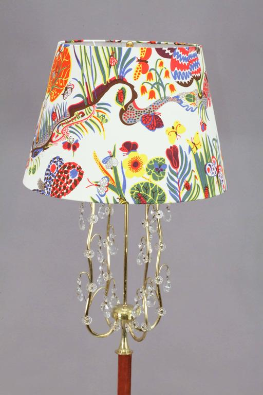 Charming Floor Lamp By Rupert Nikoll With Fabric Shade By Josef Frank For Sale At 1stdibs