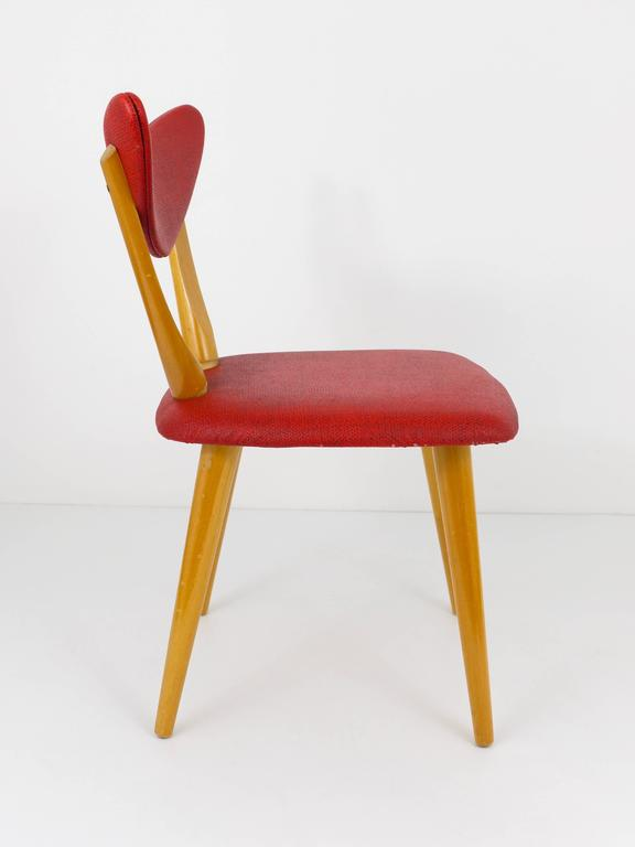 Red Heart Midcentury Childrens Chair, Austria, 1950s