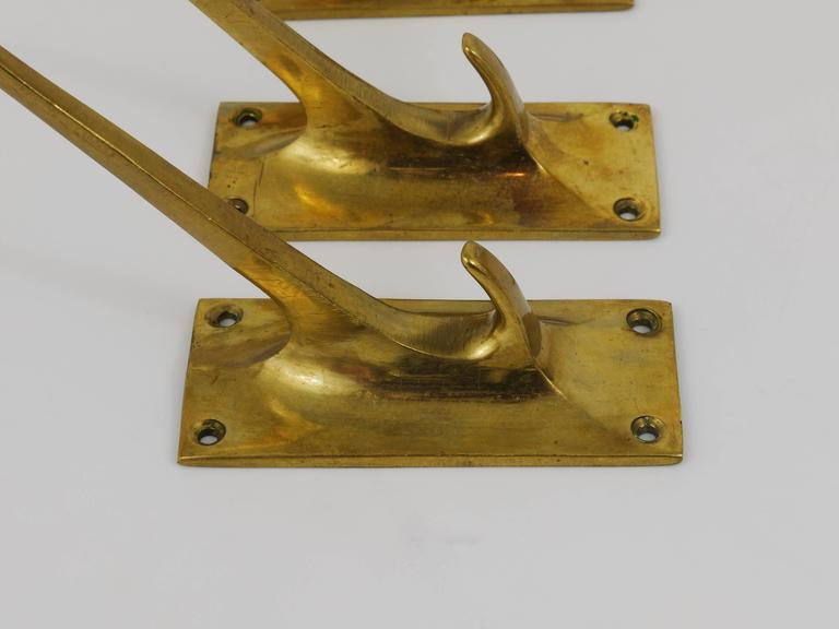 Early 20th Century Up to Six Wall Hooks by Adolf Loos for Knize, Brass, Austria, 1909 For Sale