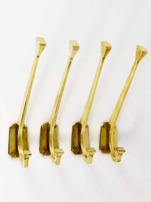 Four Handcrafted Art Nouveau Brass Wall Hooks, Austria, 1920s For Sale 1