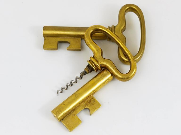 Austrian Big Carl Auböck Extra Large Brass Key Cork Screw, Bottle Opener, Austria, 1950s For Sale