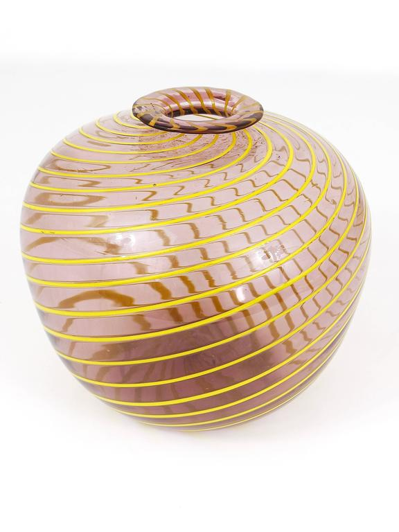 Austrian Fratelli Toso Big Purple Murano Swirl Vase with Yellow Stripes, Italy, 1950s For Sale