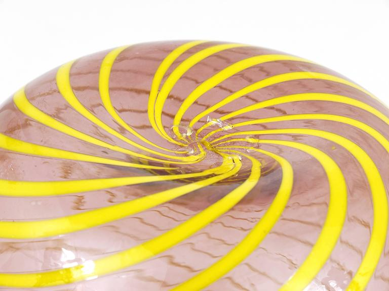 Glass Fratelli Toso Big Purple Murano Swirl Vase with Yellow Stripes, Italy, 1950s For Sale