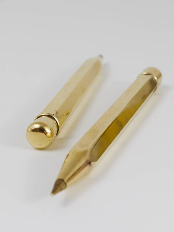 Two Carl Auböck Big Pencil Telephone Ball Pen in Brass, Austria, 1950s 2