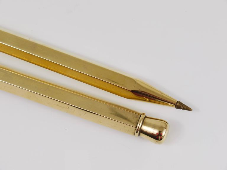Two Carl Auböck Big Pencil Telephone Ball Pen in Brass, Austria, 1950s 5