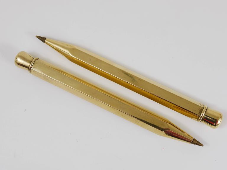 Two Carl Auböck Big Pencil Telephone Ball Pen in Brass, Austria, 1950s 7