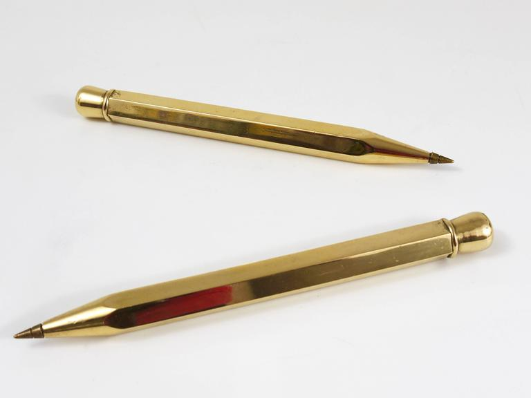 Two Carl Auböck Big Pencil Telephone Ball Pen in Brass, Austria, 1950s 8