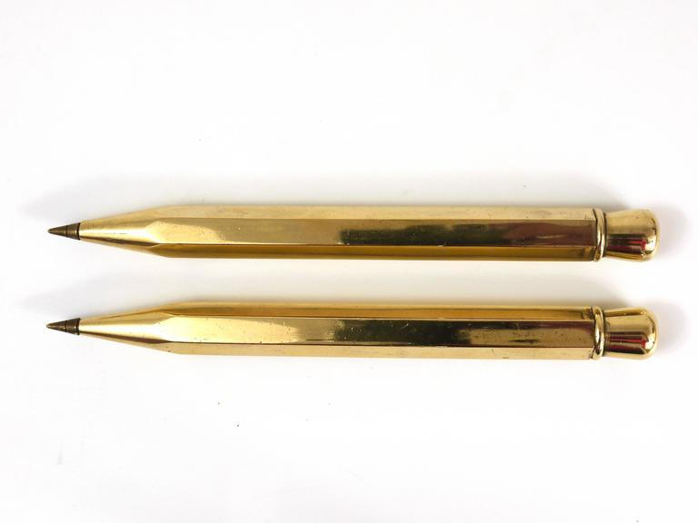 Two Carl Auböck Big Pencil Telephone Ball Pen in Brass, Austria, 1950s 9