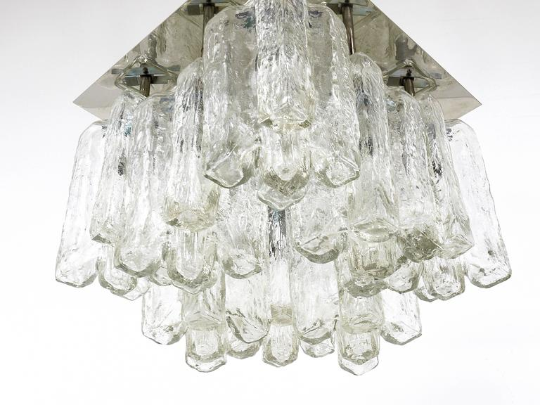 Mid-Century Modern Kalmar Granada Ice Glass Flush Mount Chandelier, Austria, 1960s For Sale