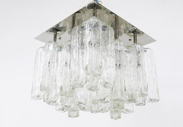 Austrian Kalmar Granada Ice Glass Flush Mount Chandelier, Austria, 1960s For Sale