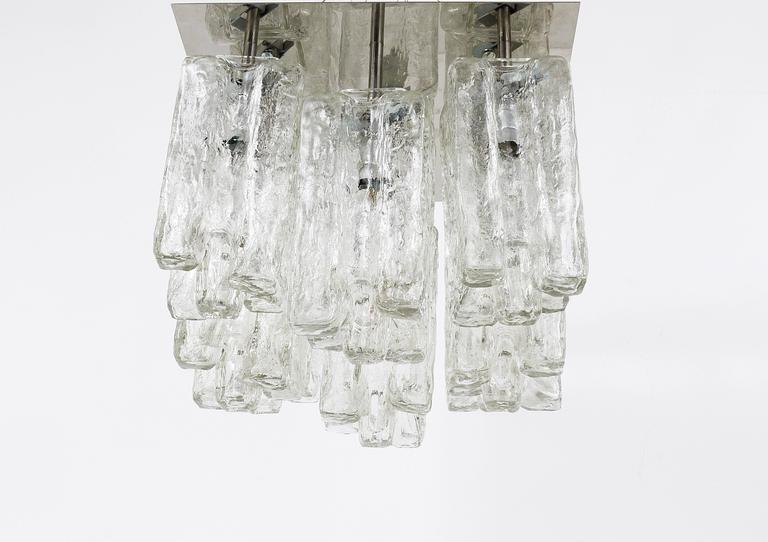 Frosted Kalmar Granada Ice Glass Flush Mount Chandelier, Austria, 1960s For Sale