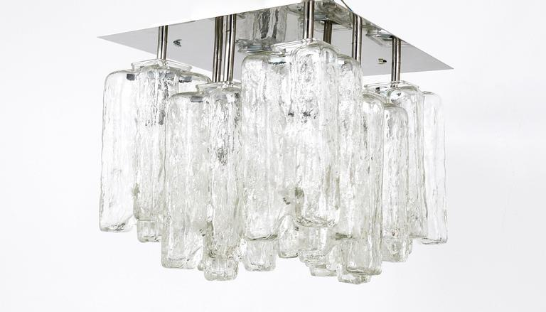 20th Century Kalmar Granada Ice Glass Flush Mount Chandelier, Austria, 1960s For Sale