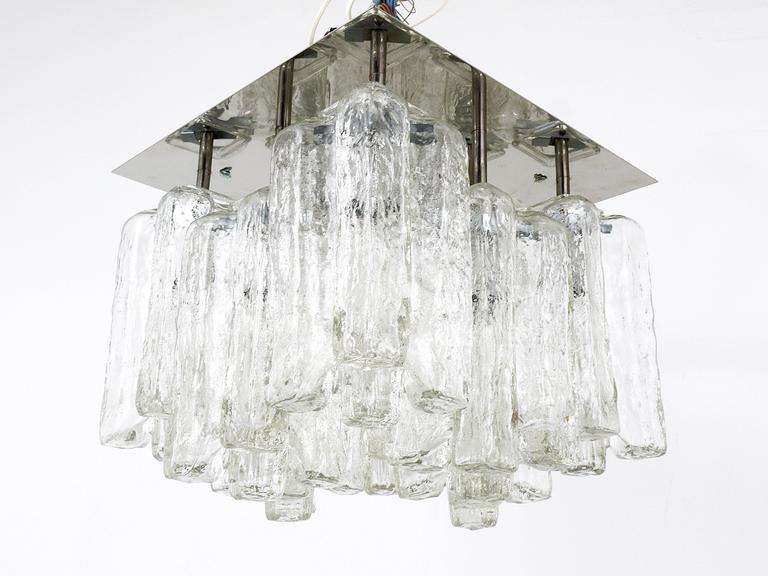 Kalmar Granada Ice Glass Flush Mount Chandelier, Austria, 1960s For Sale 1