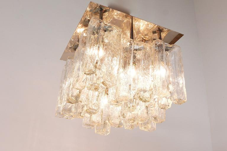 Kalmar Granada Ice Glass Flush Mount Chandelier, Austria, 1960s For Sale 2