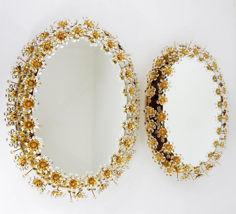 20th Century Two Palwa Backlit Flower Wall Mirrors, Gilt Brass and Crystals, Germany, 1970 For Sale