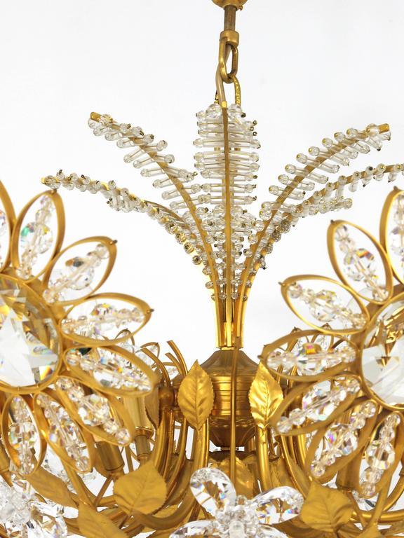 Palwa Flower Palm Tree Chandelier, Gilt Brass and Crystals, Germany, 1970s For Sale 2