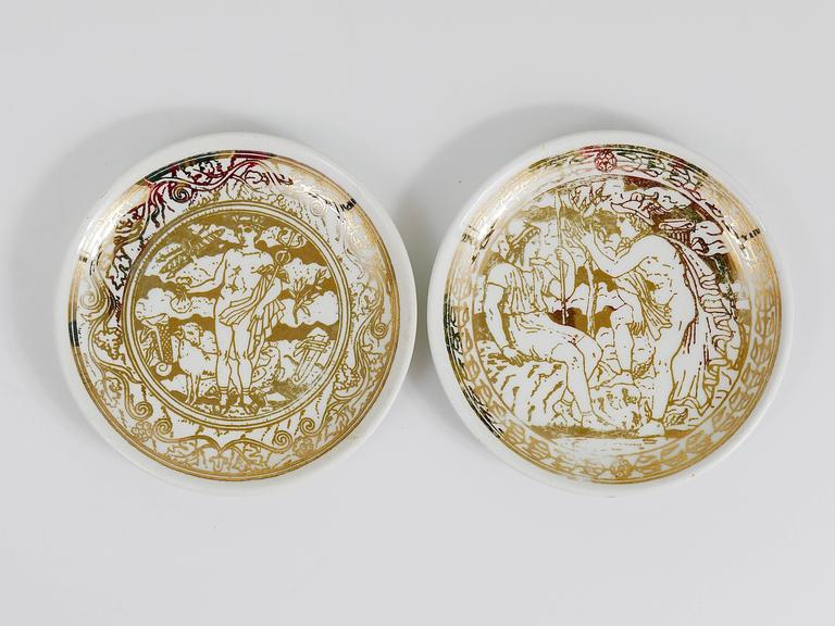 Set of Seven Piero Fornasetti Mitologia Gilded Porcelain Coasters, Italy, 1950s In Excellent Condition For Sale In Vienna, AT