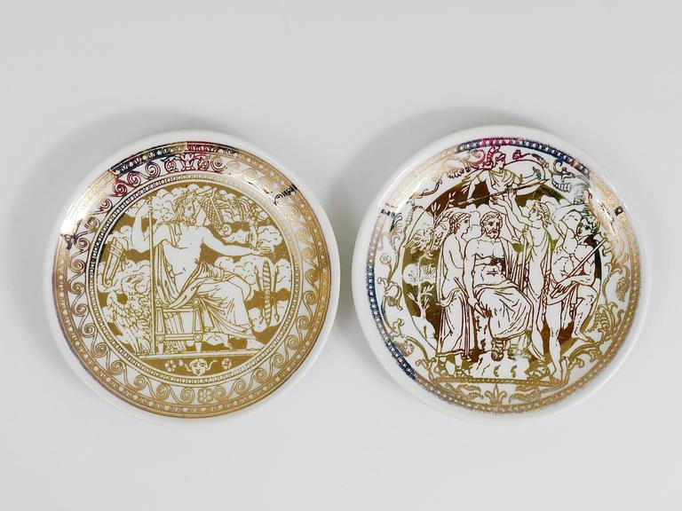 20th Century Set of Seven Piero Fornasetti Mitologia Gilded Porcelain Coasters, Italy, 1950s For Sale