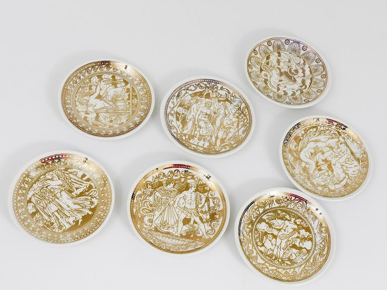 Set of Seven Piero Fornasetti Mitologia Gilded Porcelain Coasters, Italy, 1950s For Sale 2