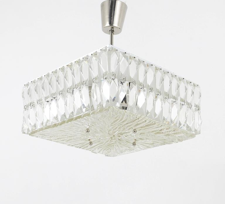 Mid-Century Modern Square Bakalowits Modernist Chandelier with Faceted Crystals, Austria, 1960s For Sale