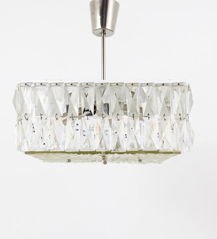 Austrian Square Bakalowits Modernist Chandelier with Faceted Crystals, Austria, 1960s For Sale