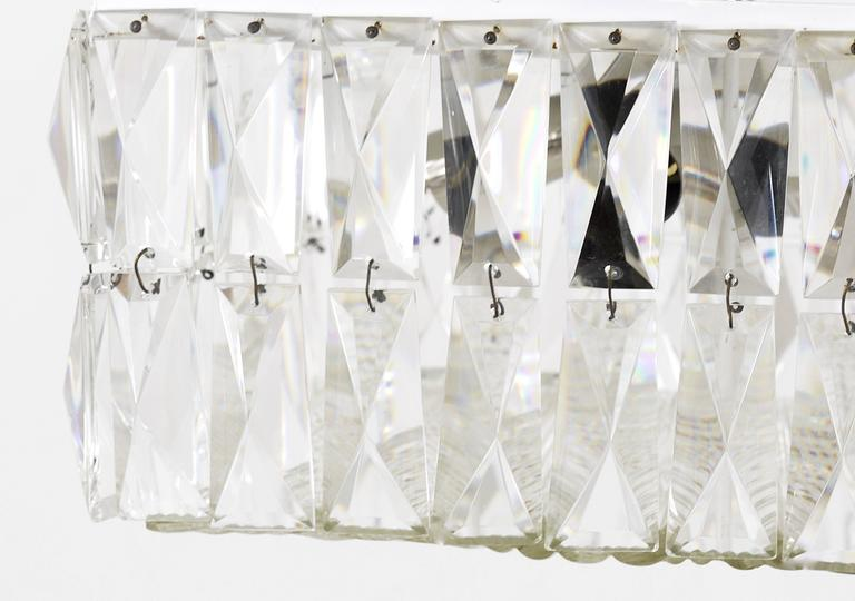Square Bakalowits Modernist Chandelier with Faceted Crystals, Austria, 1960s For Sale 3