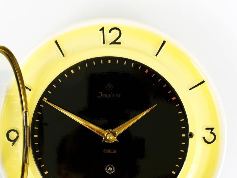 Pastel Yellow Junghans Mid Century Brass Wall Clock