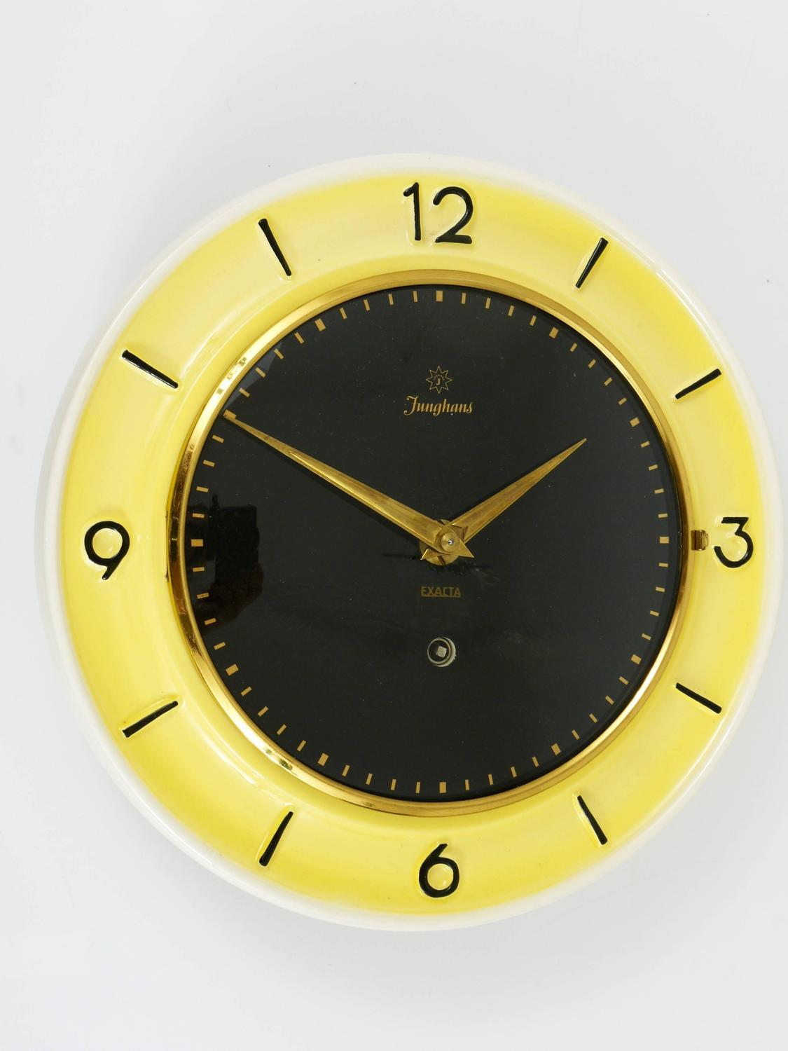 Pastel Yellow Junghans Mid-Century Brass Wall Clock, Germany, 1950s ...