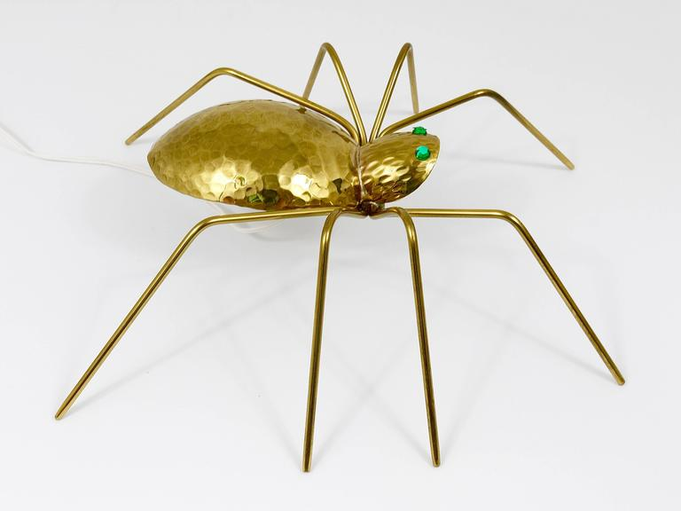 Unique Sculptural Hammered Brass Spider Lamp, Austria, 1950s 2