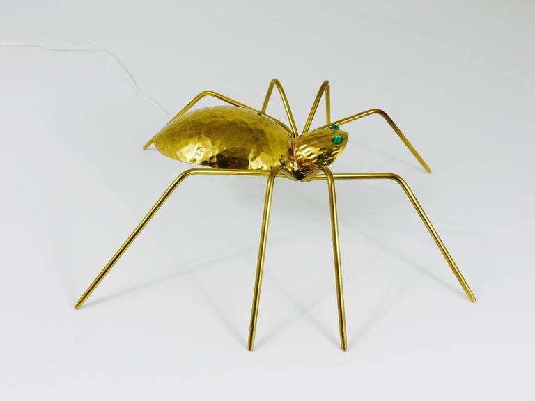 Unique Sculptural Hammered Brass Spider Lamp, Austria, 1950s 3