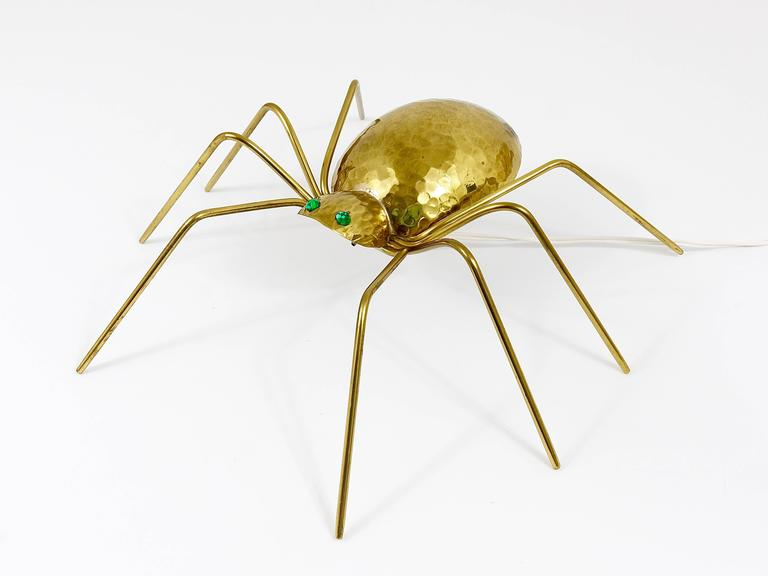 Unique Sculptural Hammered Brass Spider Lamp, Austria, 1950s 4