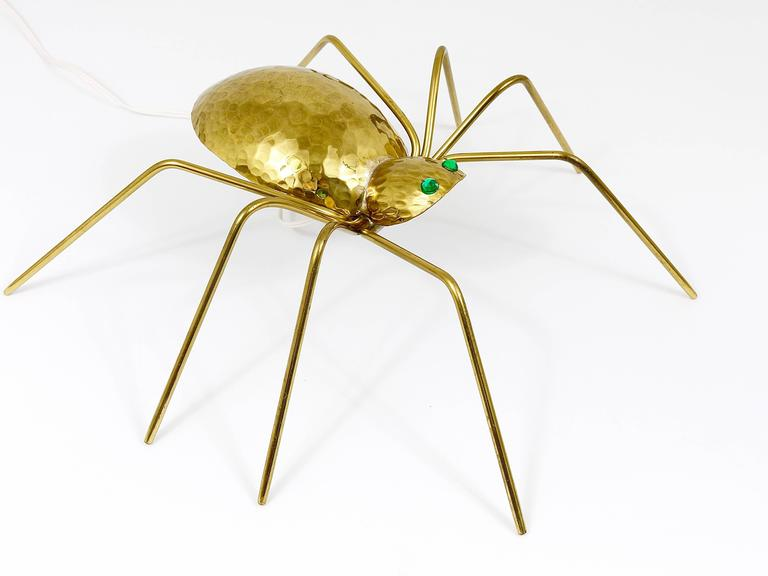 Unique Sculptural Hammered Brass Spider Lamp, Austria, 1950s 6