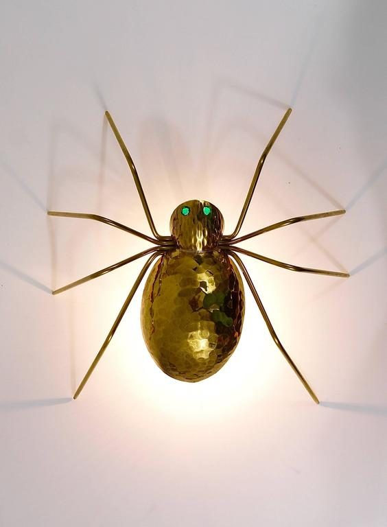 Unique Sculptural Hammered Brass Spider Lamp, Austria, 1950s 7