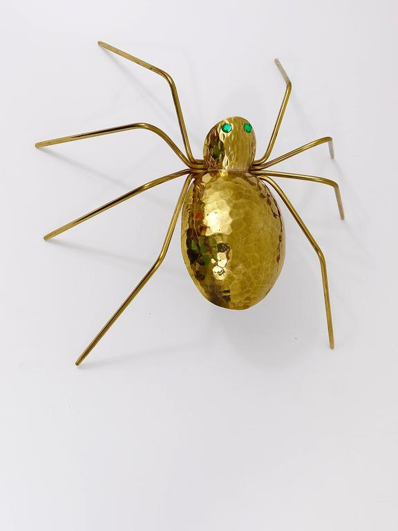Unique Sculptural Hammered Brass Spider Lamp, Austria, 1950s 8