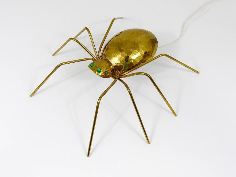 Unique Sculptural Hammered Brass Spider Lamp, Austria, 1950s 9