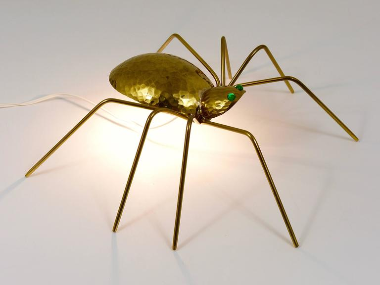 Unique Sculptural Hammered Brass Spider Lamp, Austria, 1950s 10