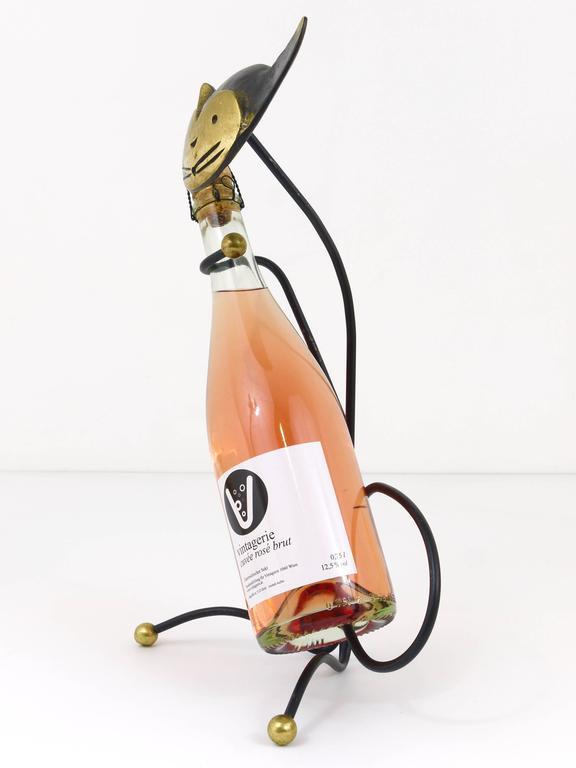 Walter Bosse Brass Cat Wine Bottle Holder by Hertha Baller, Austria, 1950s For Sale 1