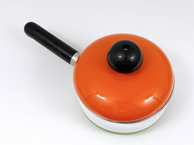 Metal Cook with Carl Aubock Enameled Pot with Lid by Riess, Austria, 1970s For Sale
