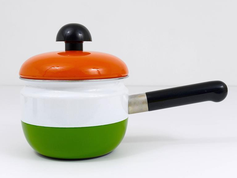 20th Century Cook with Carl Auböck Enameled Pot with Lid by Riess, Austria, 1970s For Sale