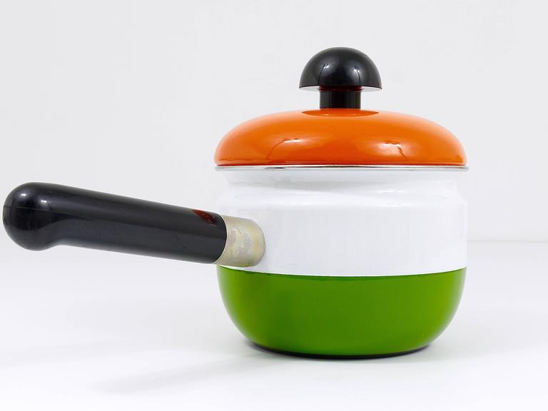 Metal Cook with Carl Auböck Enameled Pot with Lid by Riess, Austria, 1970s For Sale