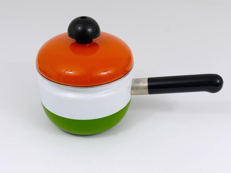 Cook with Carl Auböck Enameled Pot with Lid by Riess, Austria, 1970s For Sale 2
