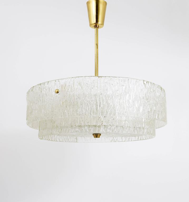 Kalmar Mid-Century Two Tiers Textured Glass Ring Chandelier, Austria, 1950s 3