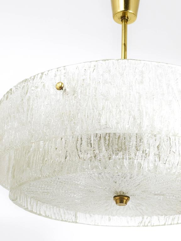 Kalmar Mid-Century Two Tiers Textured Glass Ring Chandelier, Austria, 1950s 5