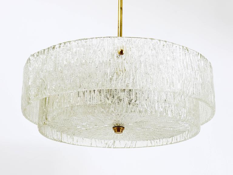 Kalmar Mid-Century Two Tiers Textured Glass Ring Chandelier, Austria, 1950s 6