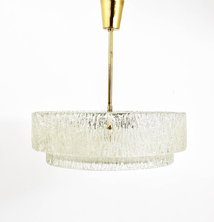 Kalmar Mid-Century Two Tiers Textured Glass Ring Chandelier, Austria, 1950s 7