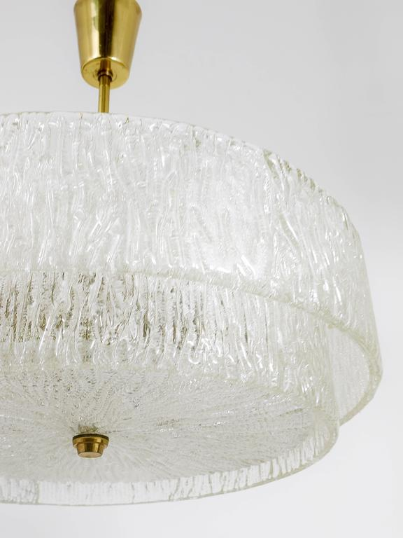 Kalmar Mid-Century Two Tiers Textured Glass Ring Chandelier, Austria, 1950s 10