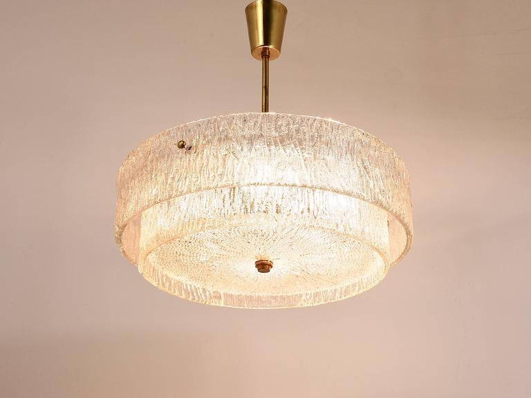 Kalmar Mid-Century Two Tiers Textured Glass Ring Chandelier, Austria, 1950s 2